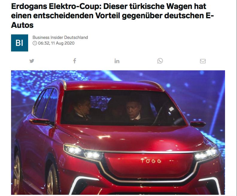 Yerli otomobil Alman elektrikli araçlar karşısında önemli avantaja sahip