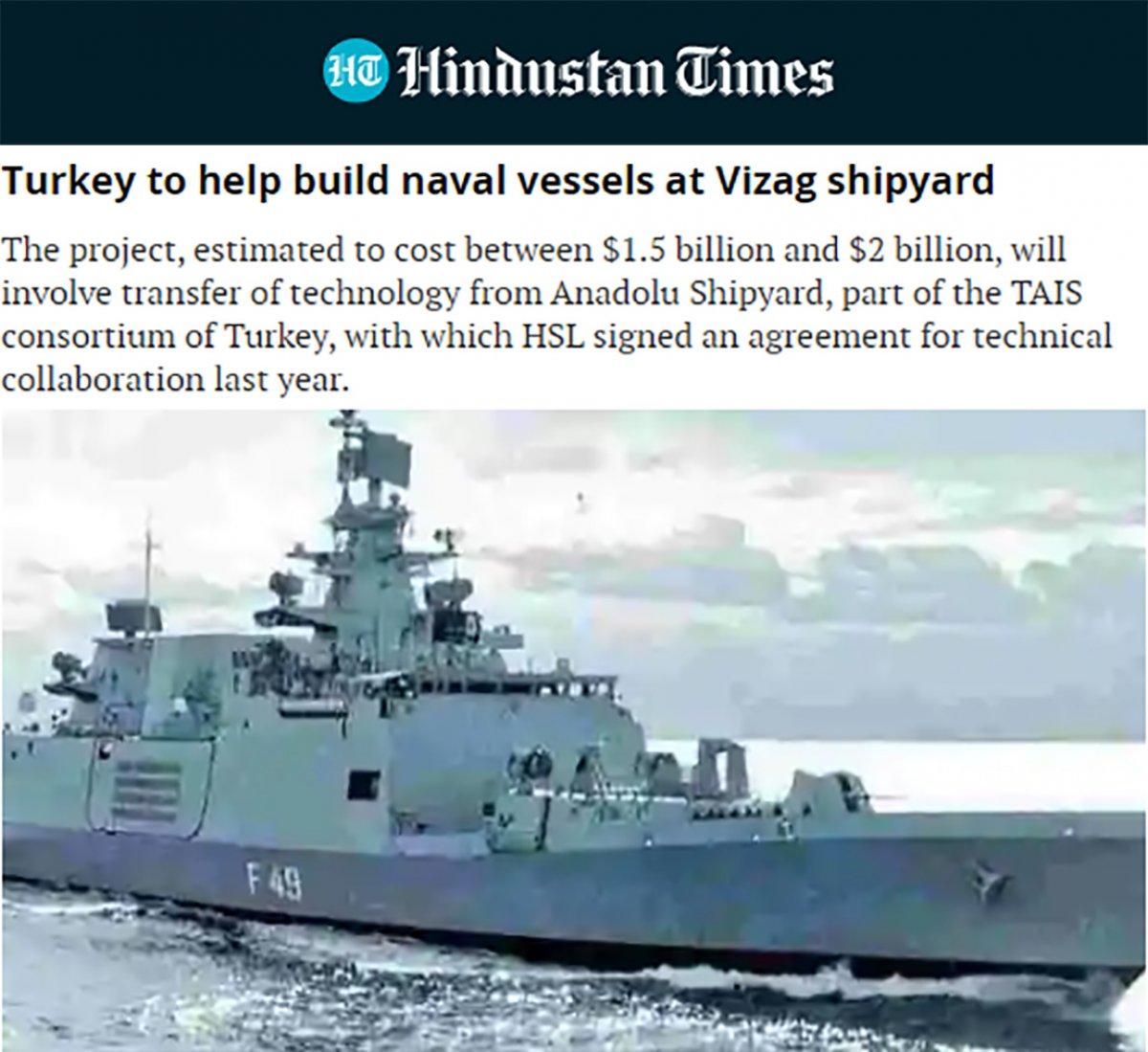 Türkiye'den gemi desteği alacak Hindistan