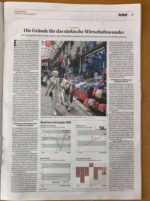handelsblatt türkei ekonomi gündemi